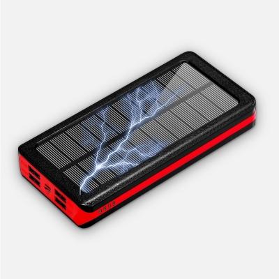 Lightning type c 4 usb cargador solar powerbank 30000mah led light solar power banks charger 30000 mah power bank solar