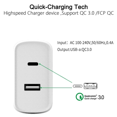 New Arrival 36W Dual QC3.0 Type-c Port PD Fast Charging EU UK US Phone Charger dual usb wall charger pd qc