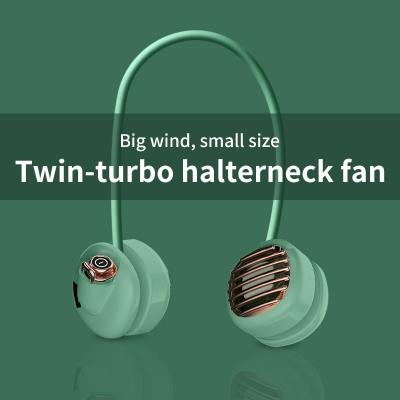 Double head portable rechargeable outdoor folding fan usb 3 speed wearable sports hanging neck fan